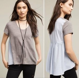 Anthropologie Deletta Grey Front Striped Babydoll